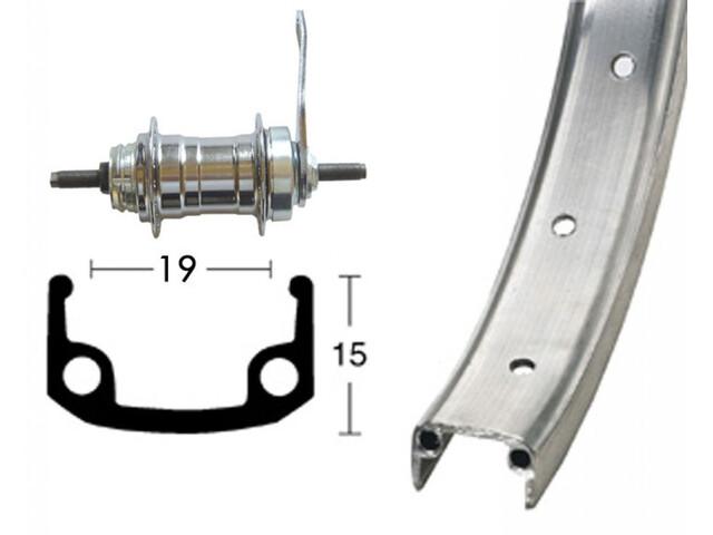 Bike-Parts Hinterrad 20x1.75 36L Rücktrittbremse silber